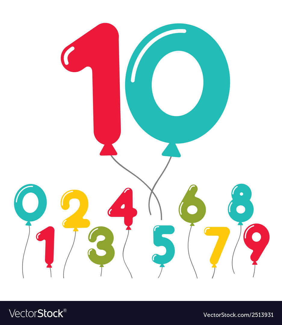 Set of birthday party balloon numbers vector | Price: 1 Credit (USD $1)
