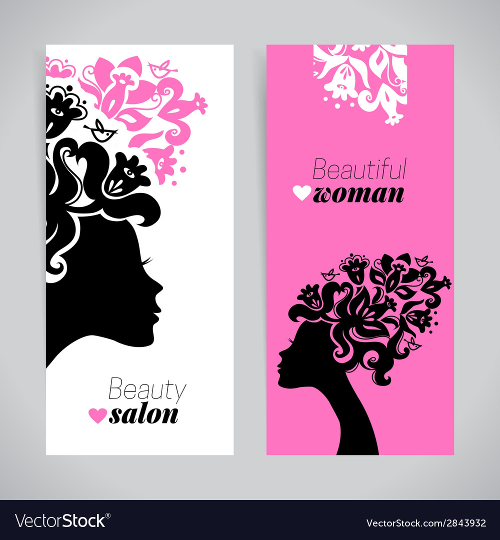 Banners of beautiful women silhouettes with vector | Price: 1 Credit (USD $1)