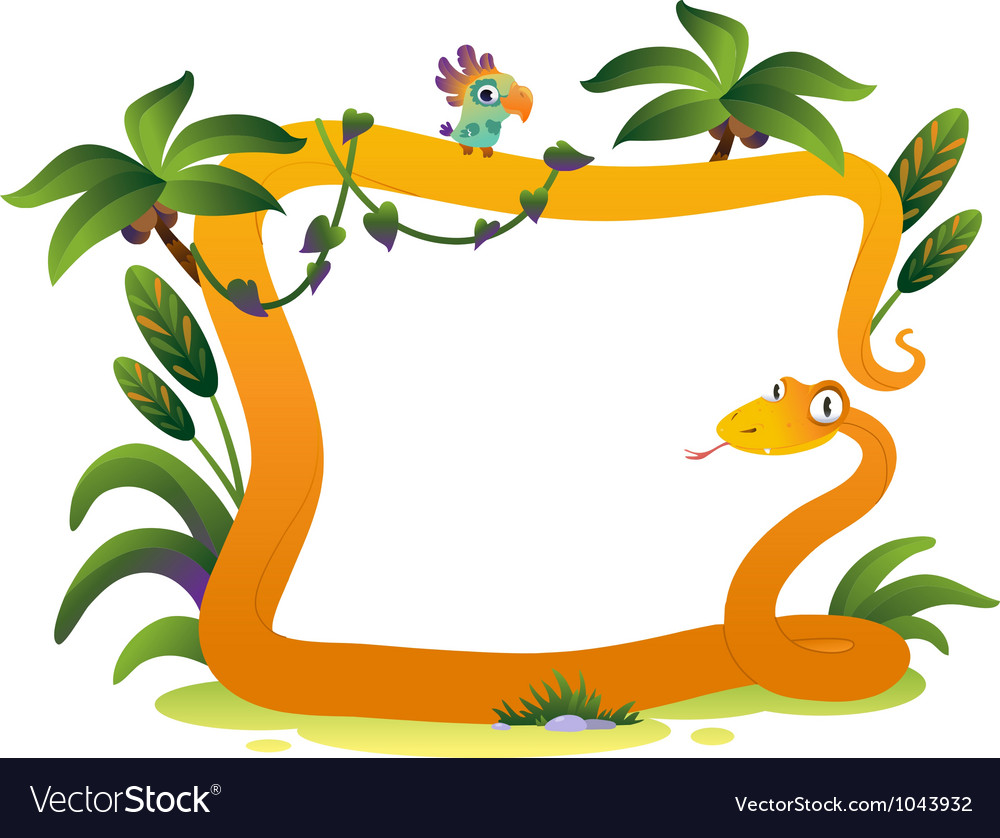 Cartoon frame snake on the white background vector | Price: 1 Credit (USD $1)