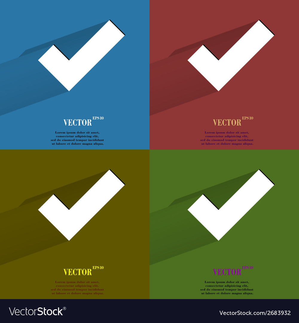 Color set tick flat modern web button with long vector   Price: 1 Credit (USD $1)
