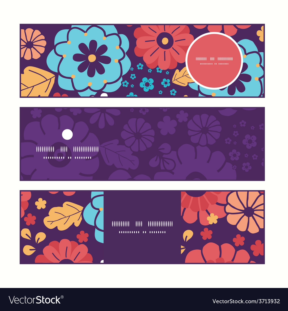 Colorful bouquet flowers horizontal banners vector | Price: 1 Credit (USD $1)