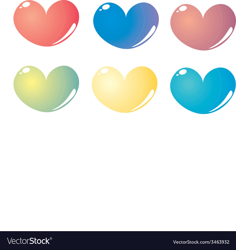 Colorful hearts set isolated on white vector   Price: 1 Credit (USD $1)