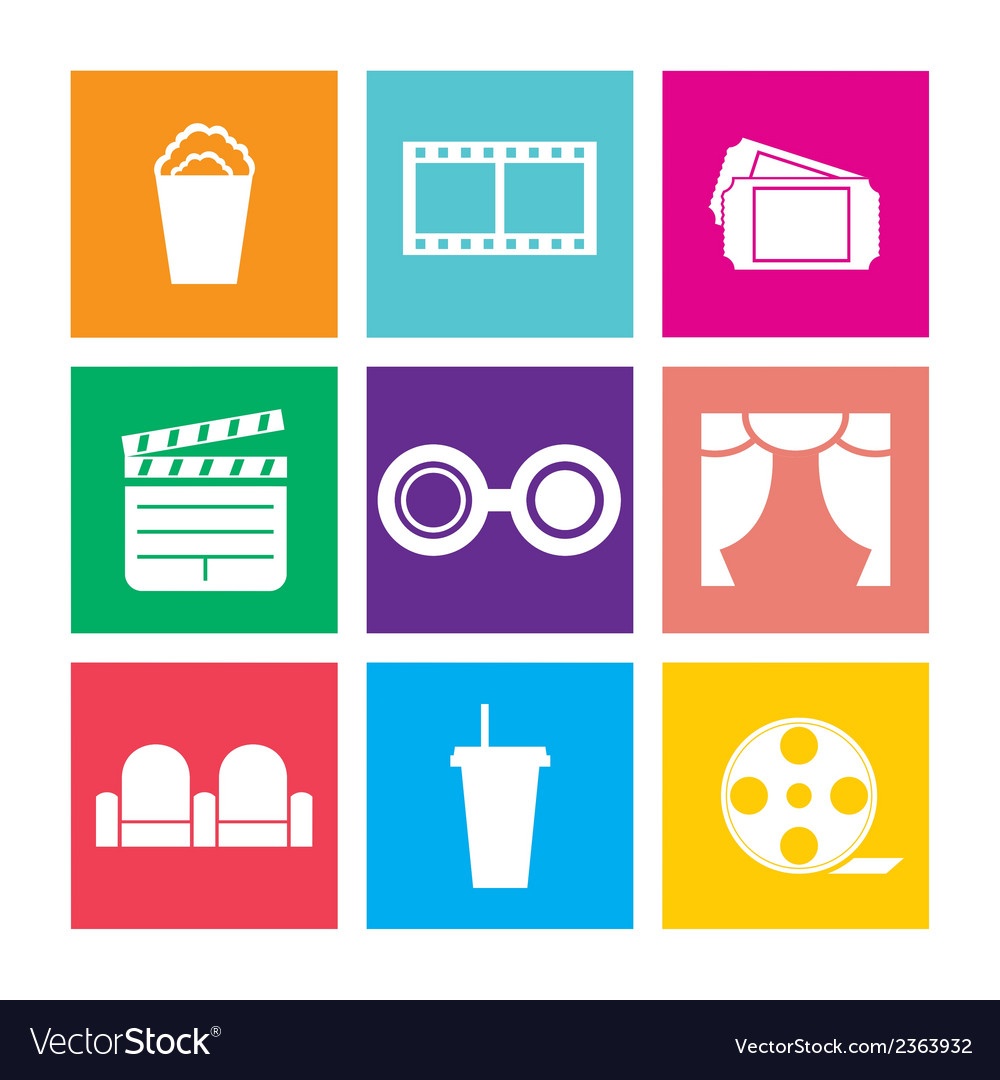 Flat design cinema icons vector | Price: 1 Credit (USD $1)
