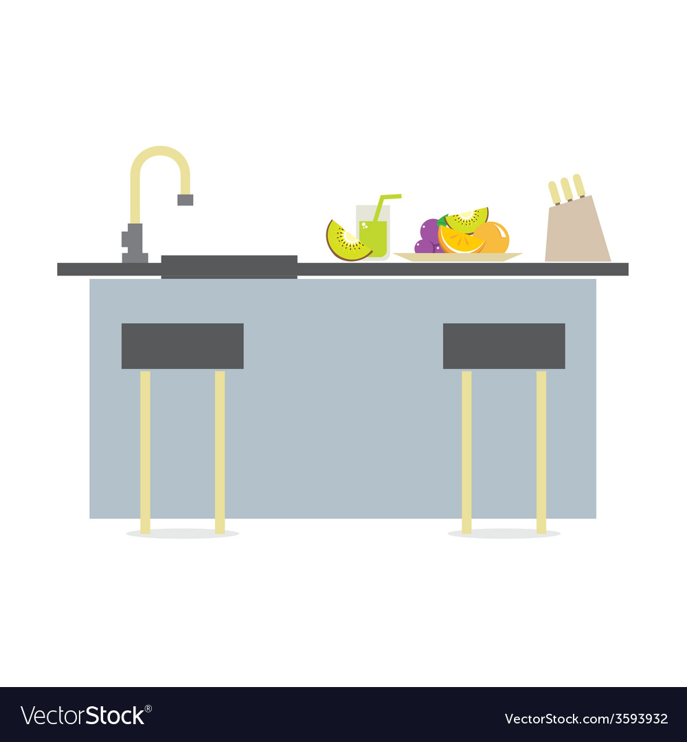 Flat design island kitchen interior design vector | Price: 1 Credit (USD $1)