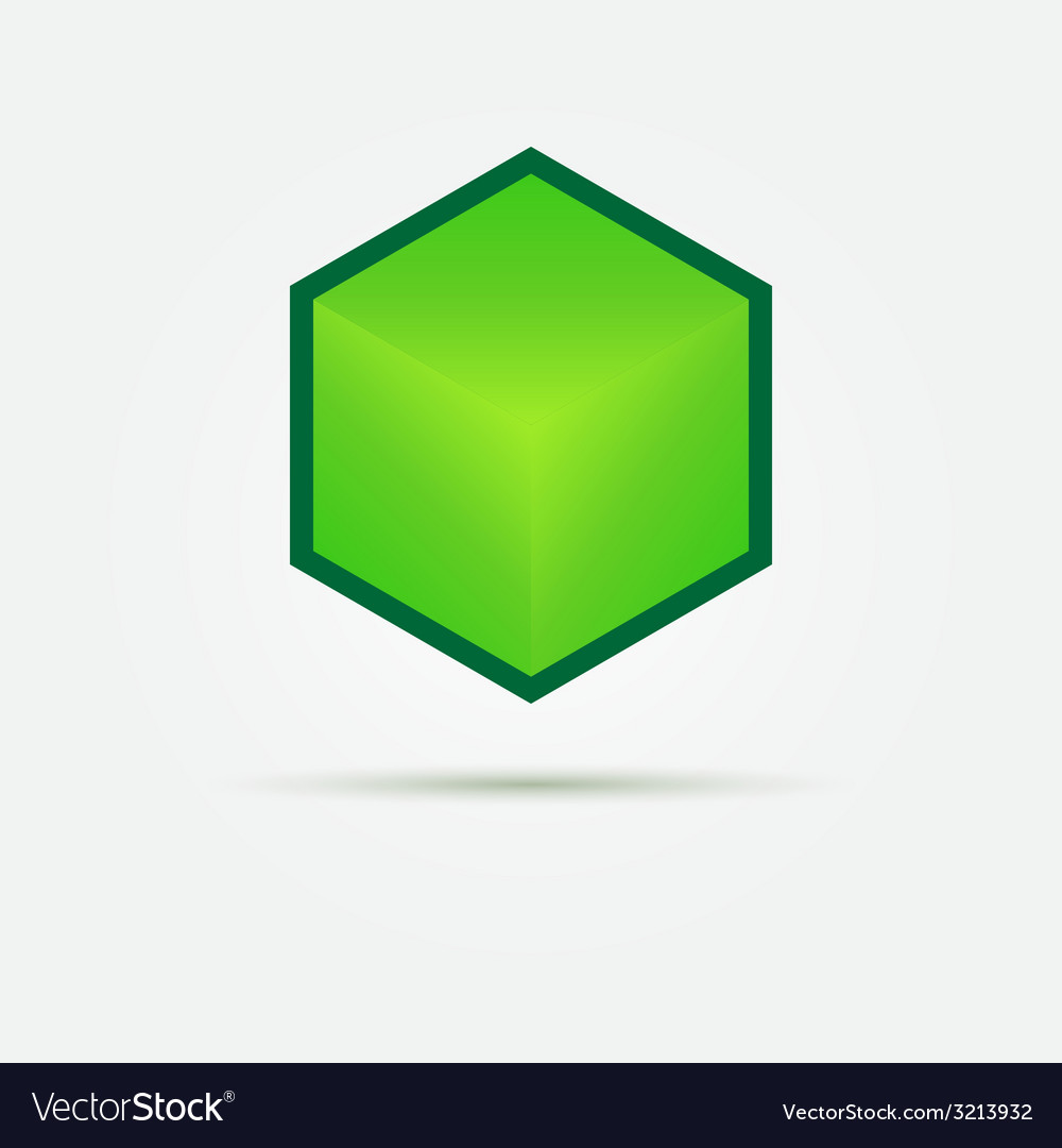 Isometric green 3d cube logo vector   Price: 1 Credit (USD $1)