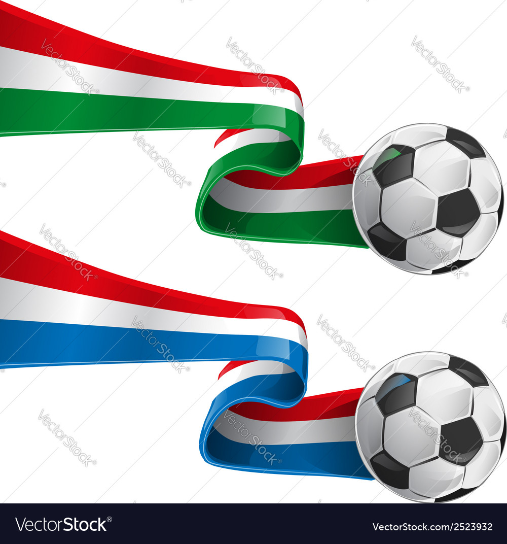 Italy and france flag with soccer ball vector | Price: 1 Credit (USD $1)