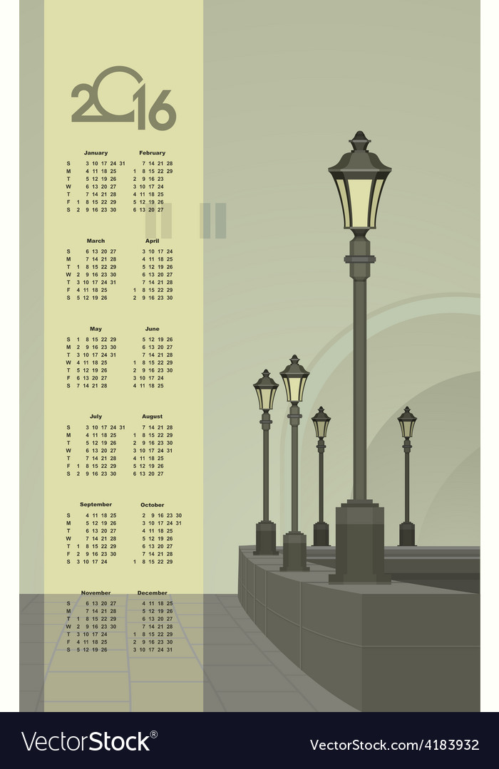 Lights in the faithful city calendar vector | Price: 3 Credit (USD $3)
