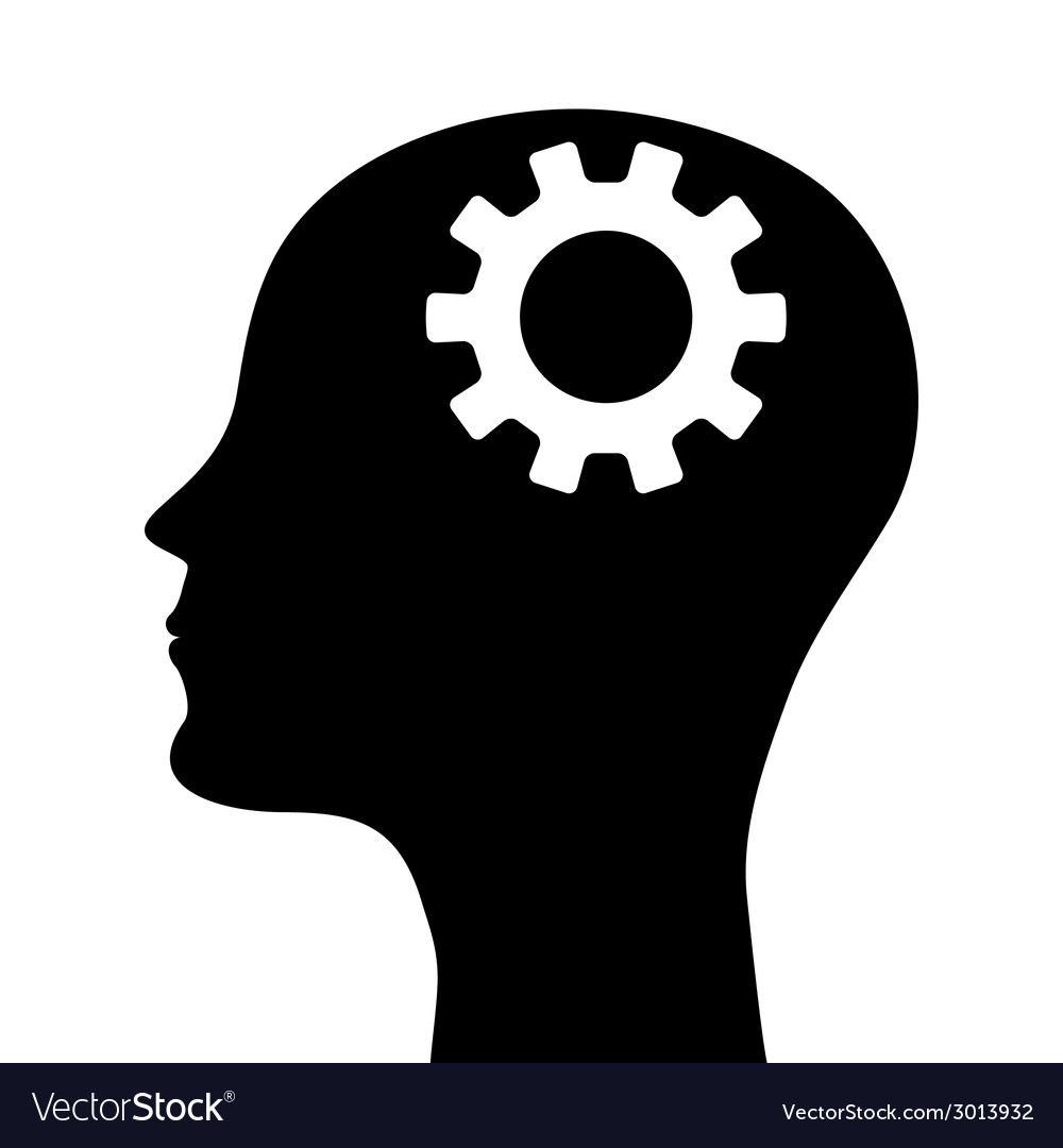 Silhouette of a mans head with a picture of the m vector | Price: 1 Credit (USD $1)