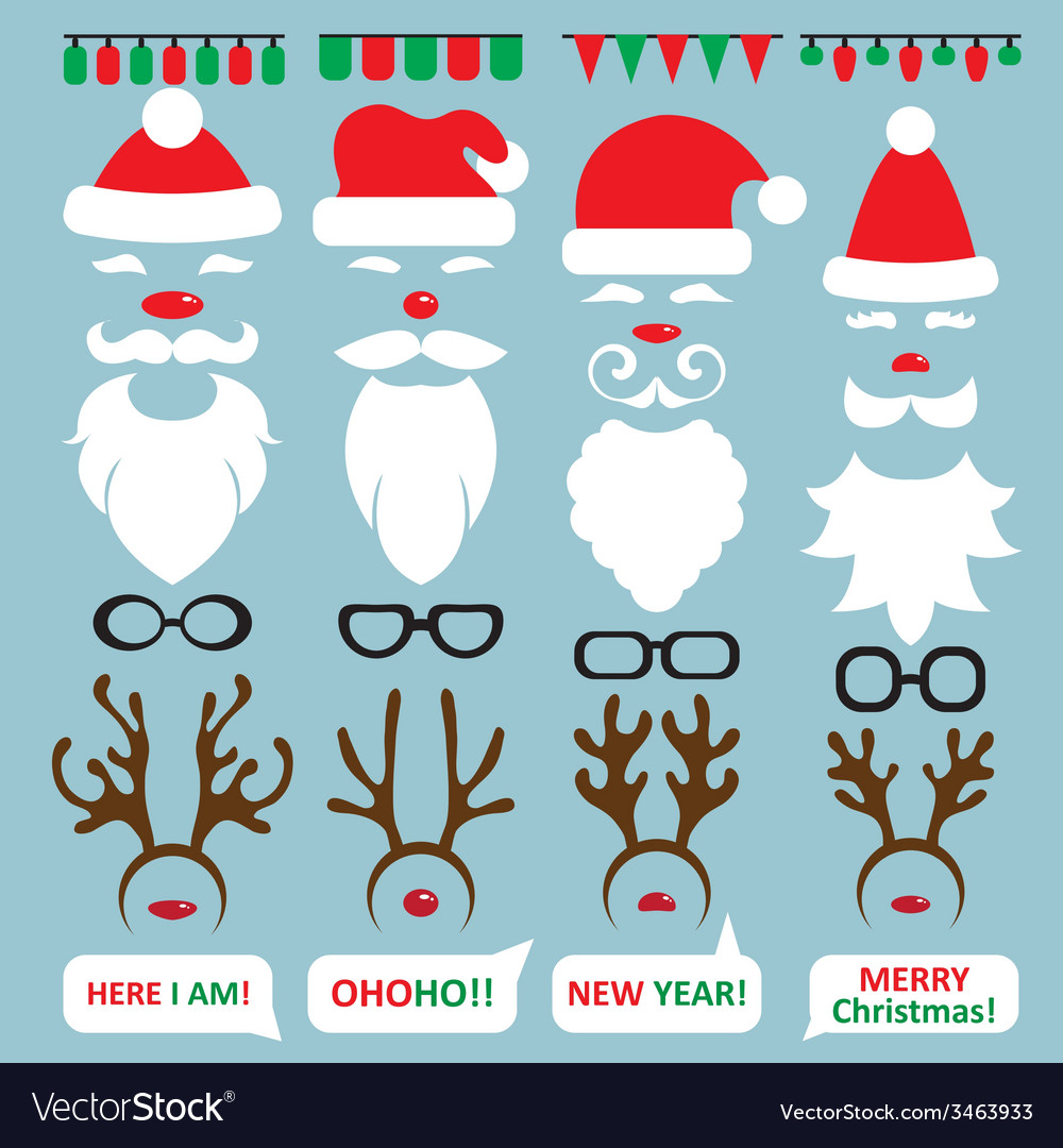 Christmas photo booth and scrapbooking set santa vector | Price: 1 Credit (USD $1)