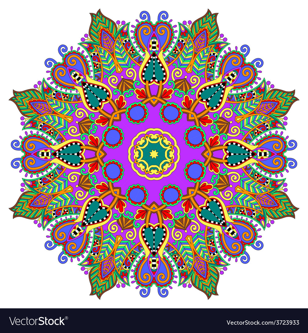 Circle decorative spiritual indian symbol of lotus vector | Price: 1 Credit (USD $1)