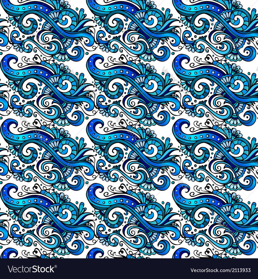 Decorative blue flower pattern vector | Price: 1 Credit (USD $1)