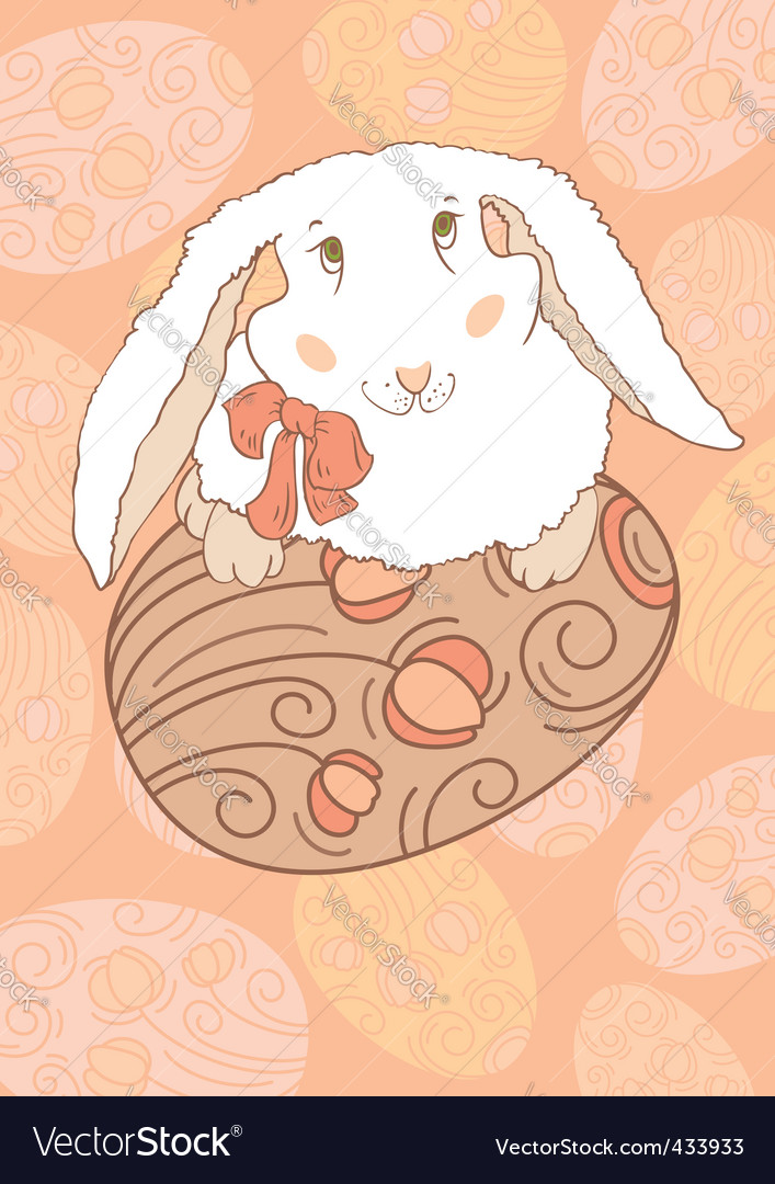 Easter bunny with egg vector | Price: 1 Credit (USD $1)