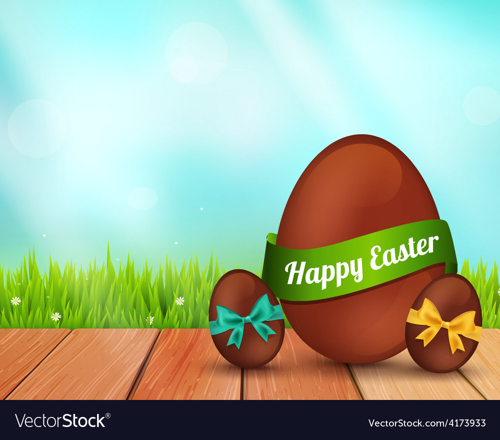 Easter chocolate eggs on rustic wooden vector | Price: 3 Credit (USD $3)