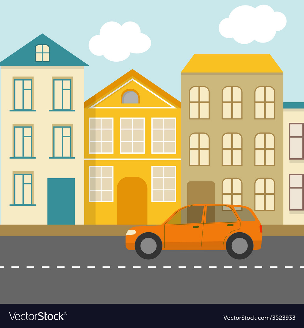 Flat urban landscape vector | Price: 1 Credit (USD $1)
