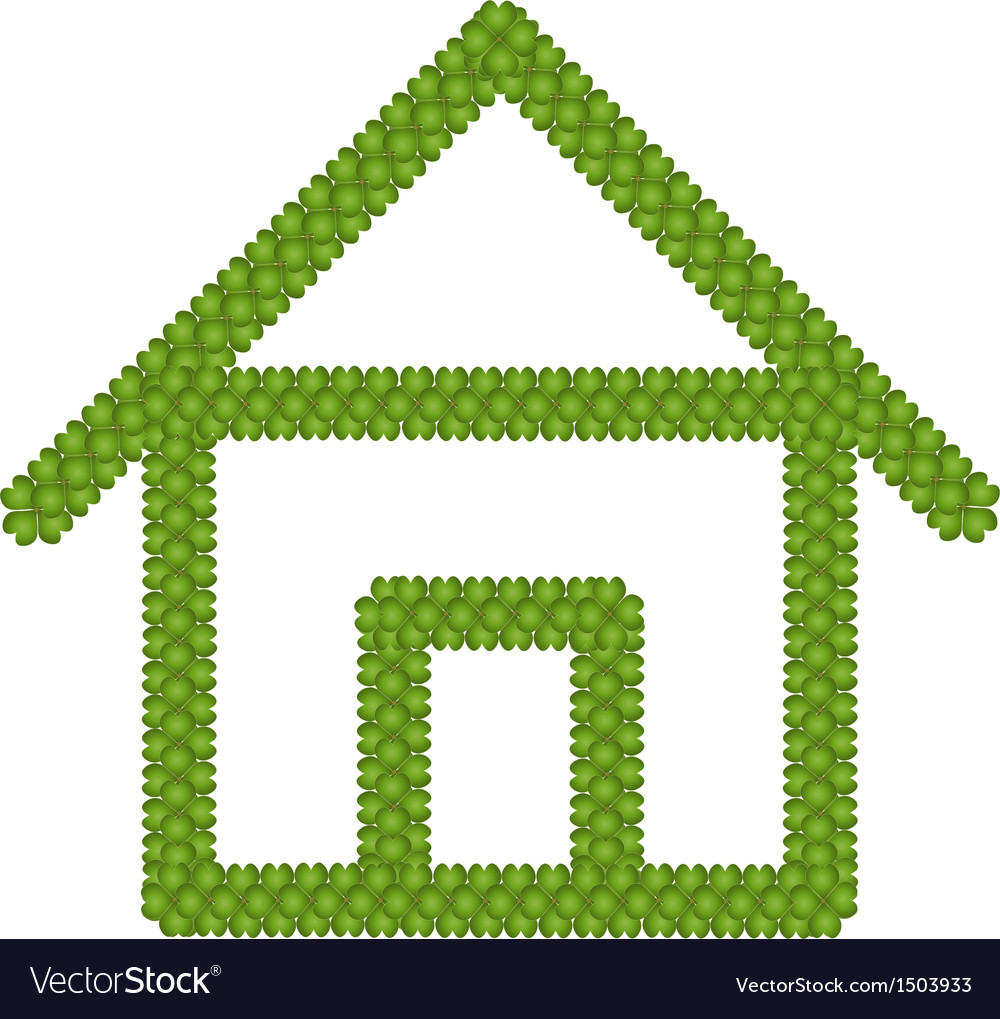 Green four leaf clover of home icon vector   Price: 1 Credit (USD $1)