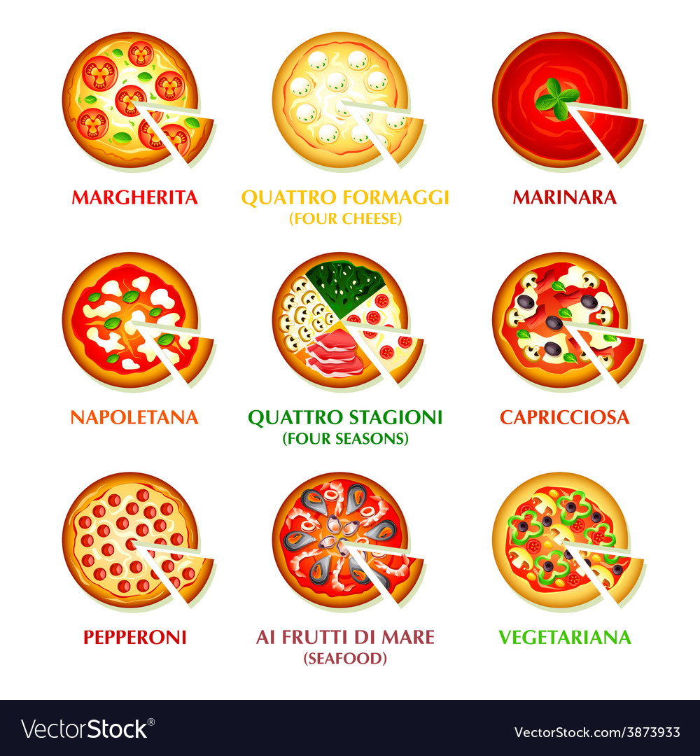 Italian pizza icons vector | Price: 1 Credit (USD $1)