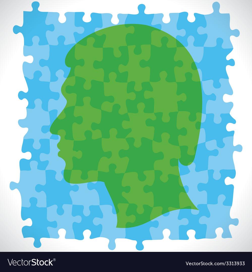 Puzzle piece design human head vector | Price: 1 Credit (USD $1)