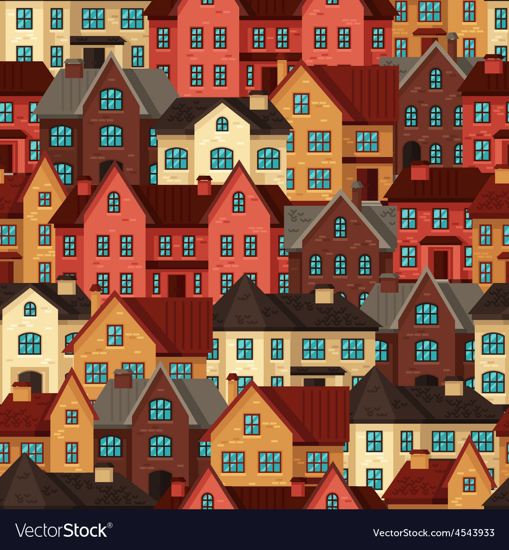 Town seamless pattern with cottages and houses vector | Price: 1 Credit (USD $1)