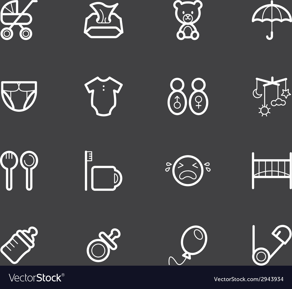 Baby stuff element white icon set2 vector | Price: 1 Credit (USD $1)