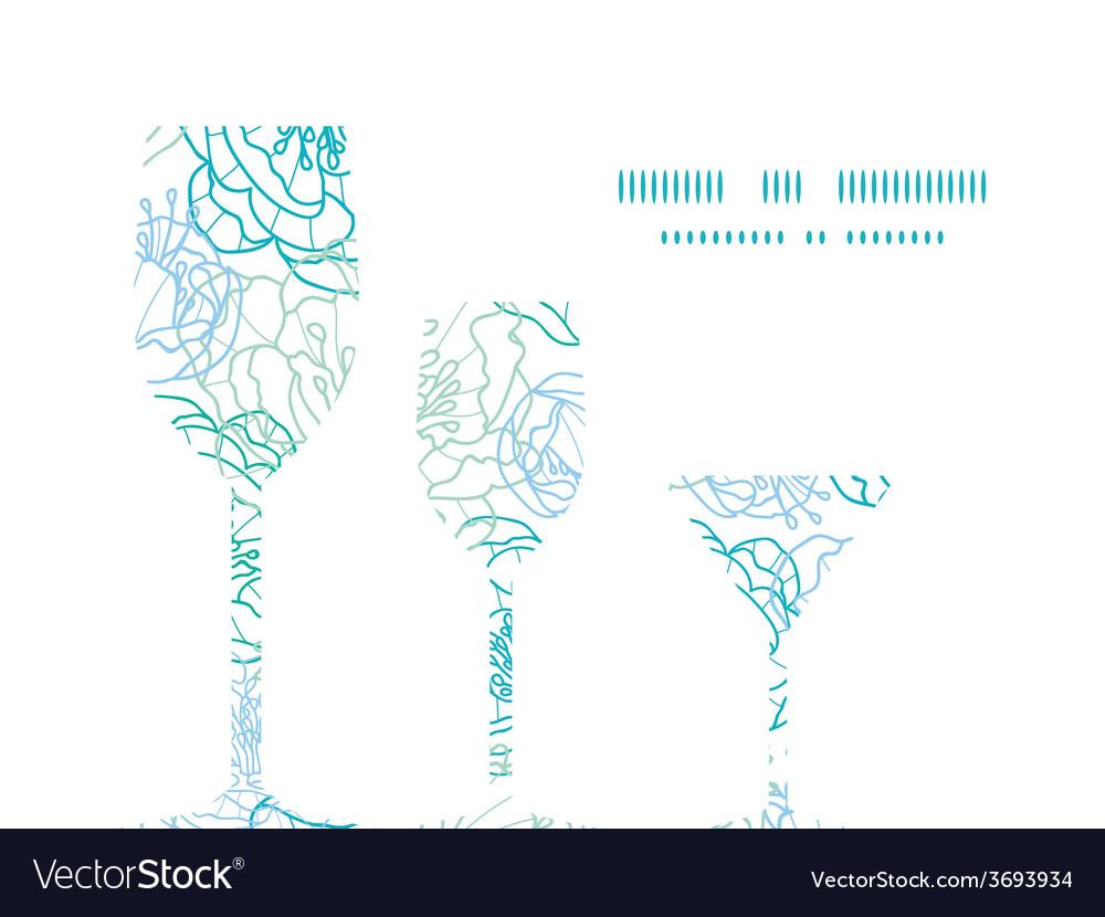 Blue line art flowers three wine glasses vector   Price: 1 Credit (USD $1)