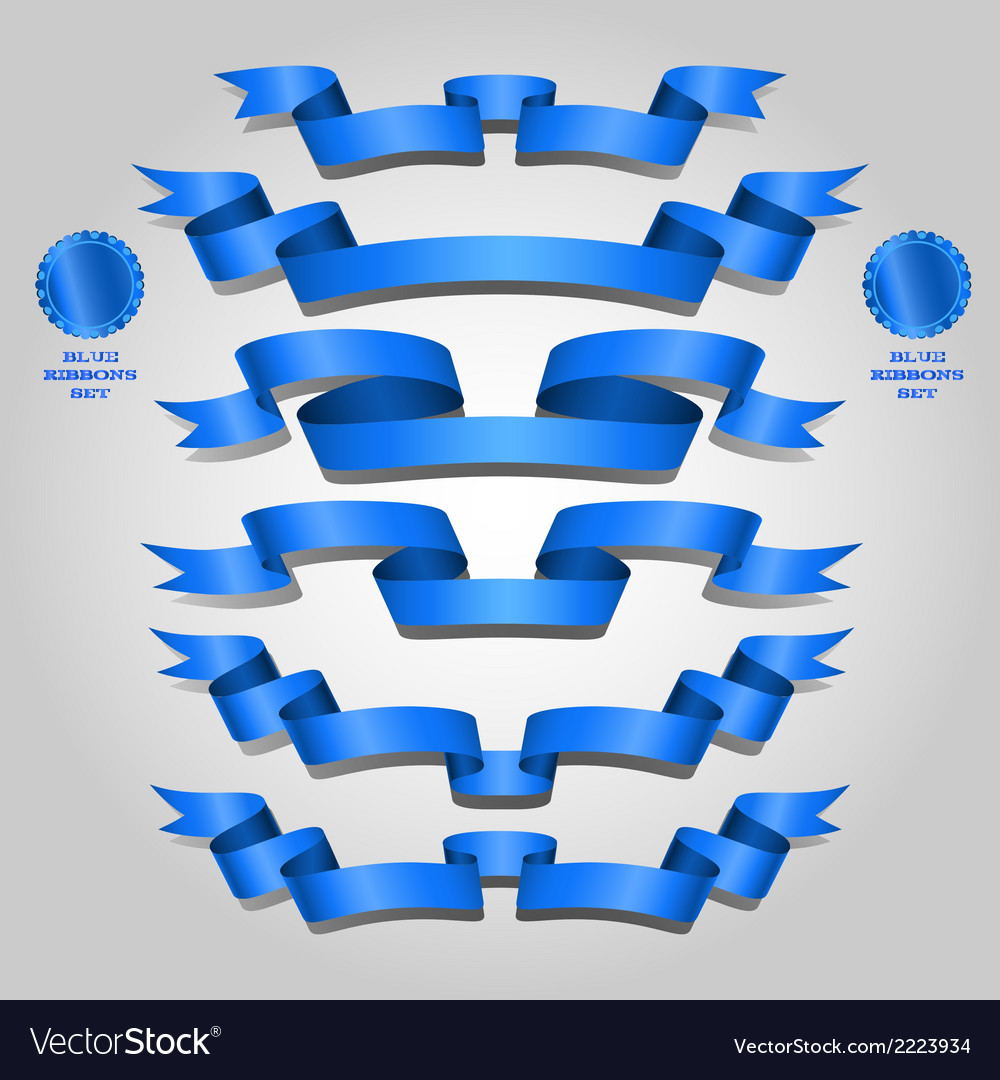 Blue ribbon set vector | Price: 1 Credit (USD $1)