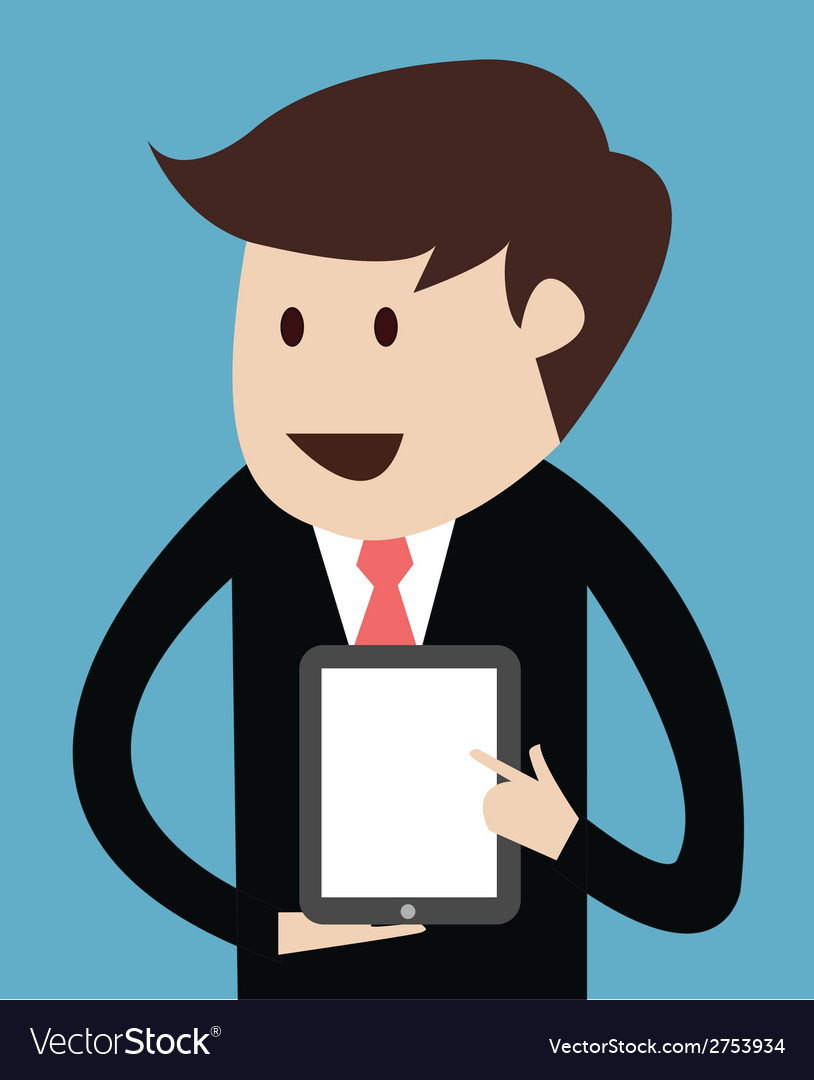 Business man with tablet concept of presentation vector | Price: 1 Credit (USD $1)