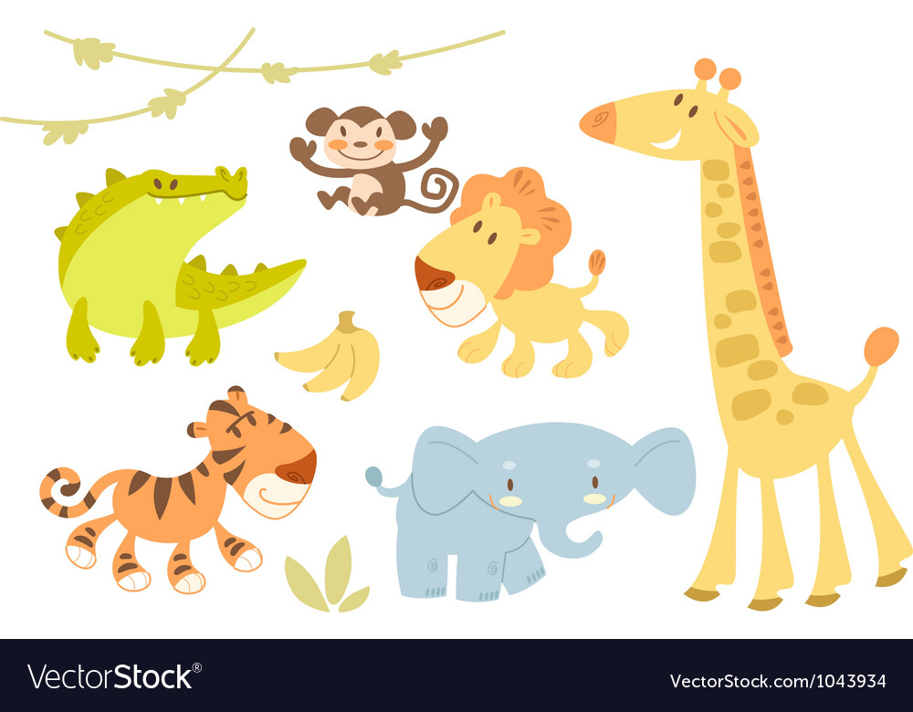 Cute animal set vector | Price: 3 Credit (USD $3)