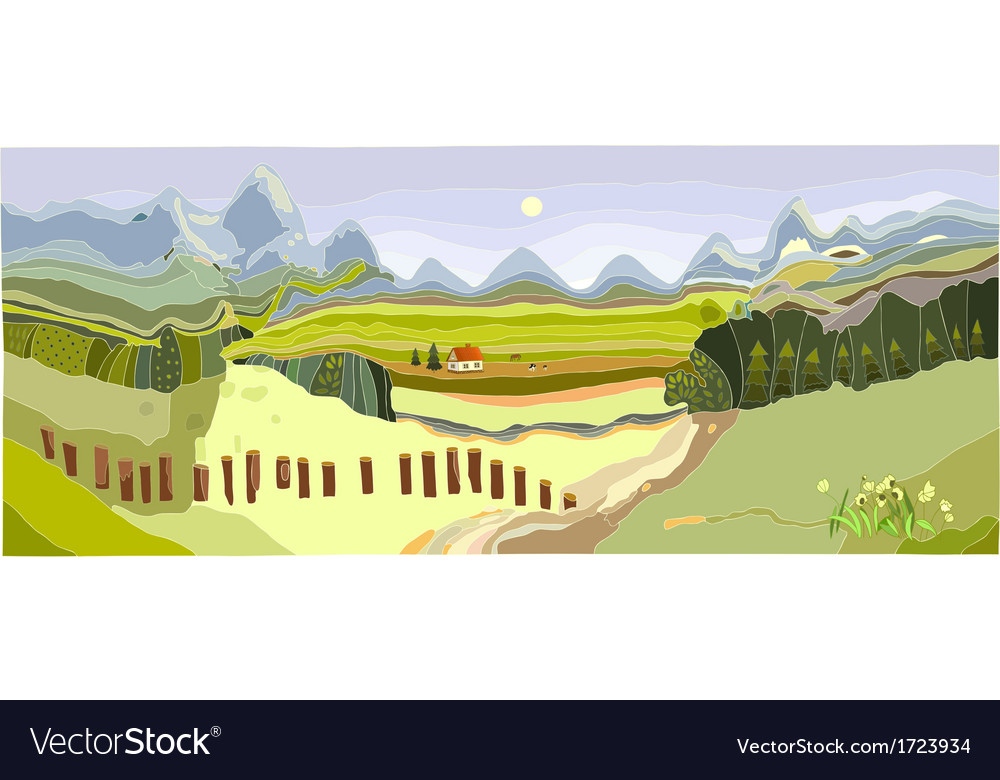 Mountain spring landscape vector | Price: 1 Credit (USD $1)