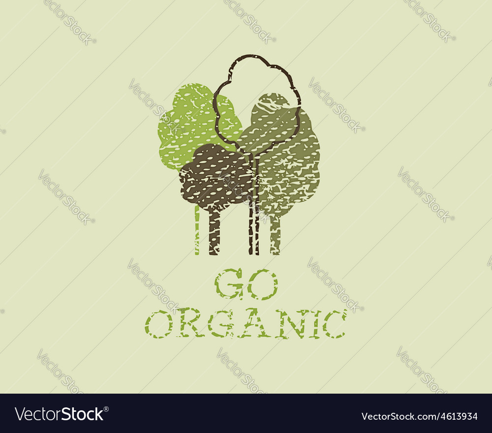 Organic eco green template vintage ecology poster vector | Price: 1 Credit (USD $1)