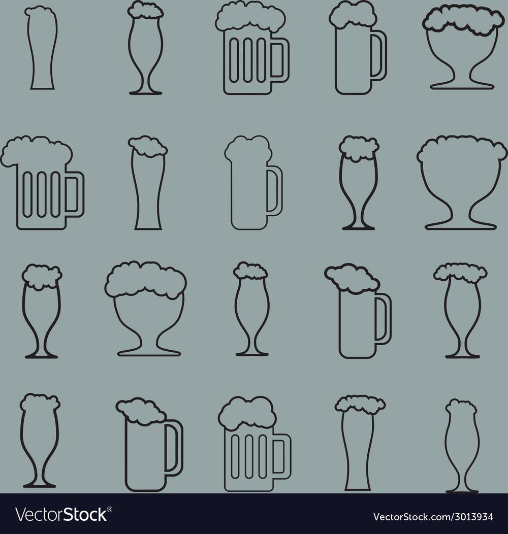 Set of twenty beer glass vector | Price: 1 Credit (USD $1)