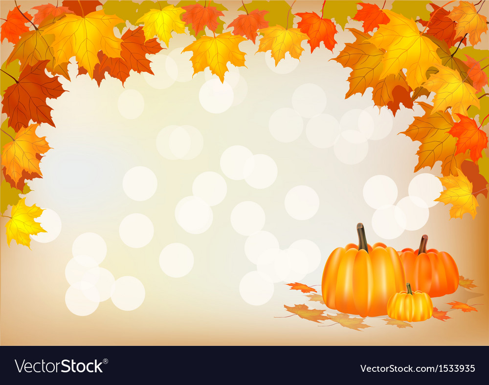 Autumn pumpkin holiday postcard vector | Price: 1 Credit (USD $1)