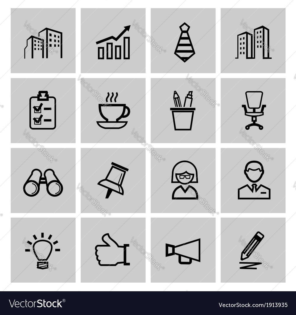Black business icons vector   Price: 1 Credit (USD $1)