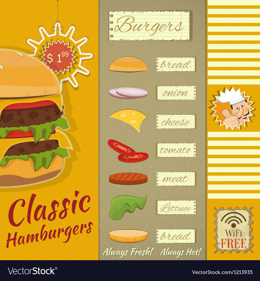 Burgers menu vector | Price: 3 Credit (USD $3)