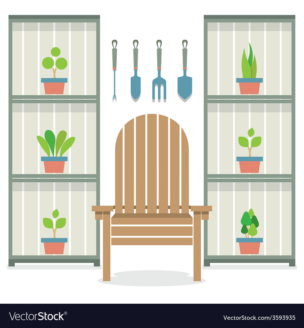 Chairs with pot plants in cabinet gardening vector | Price: 1 Credit (USD $1)