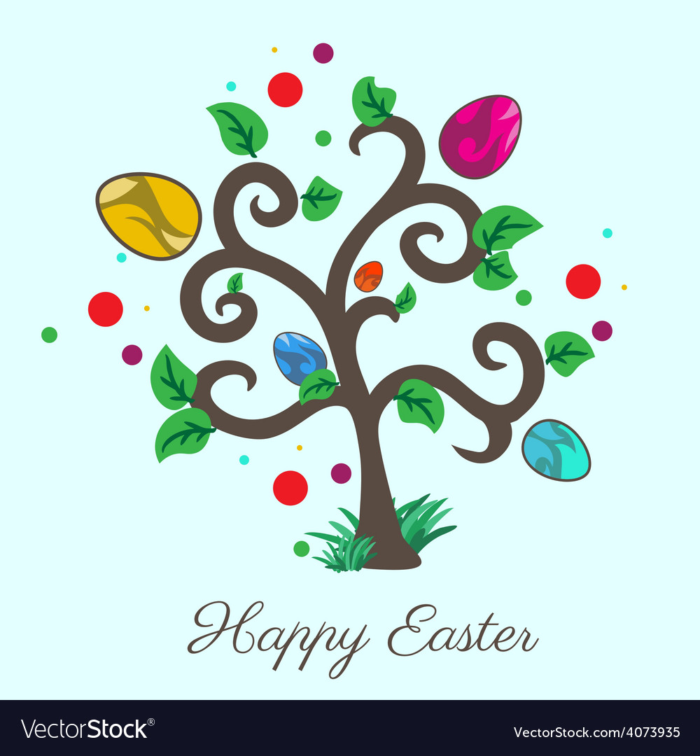 Easter tree holiday card vector | Price: 1 Credit (USD $1)