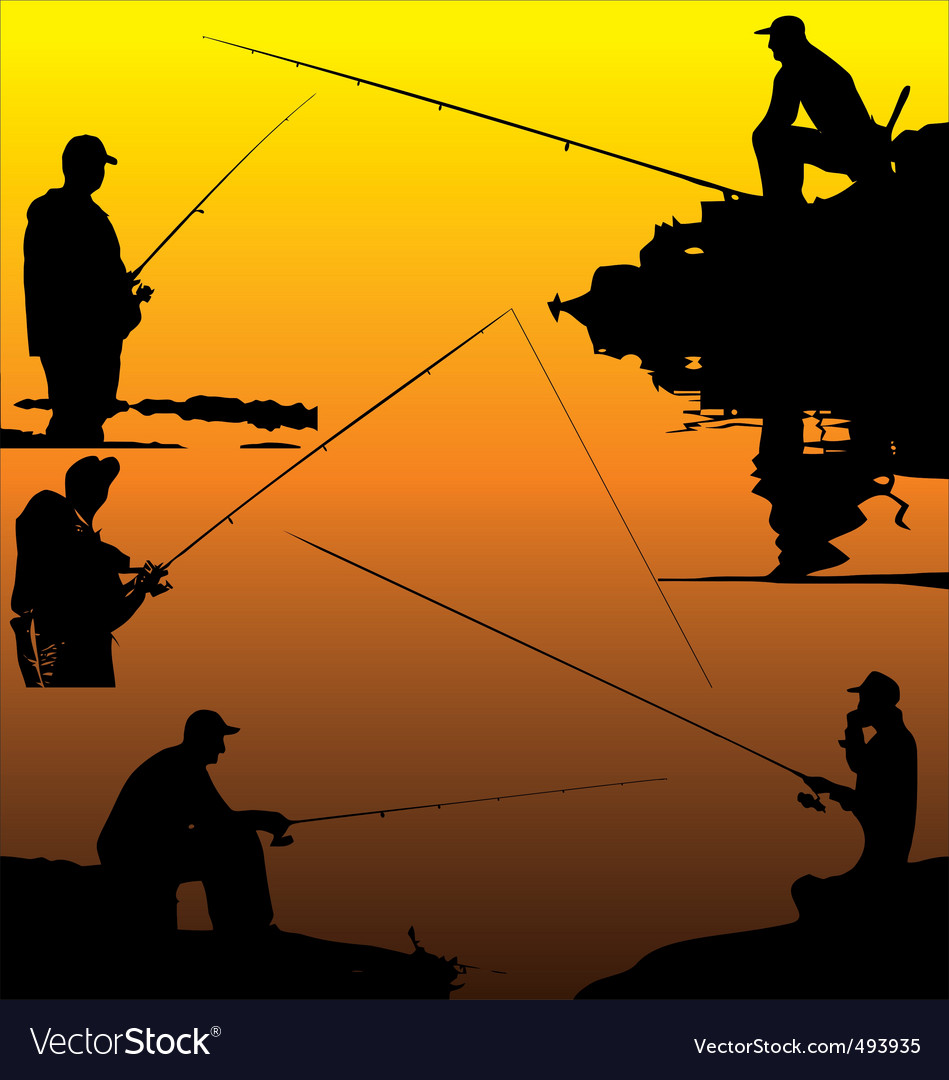 Fisherman silhouettes vector | Price: 1 Credit (USD $1)