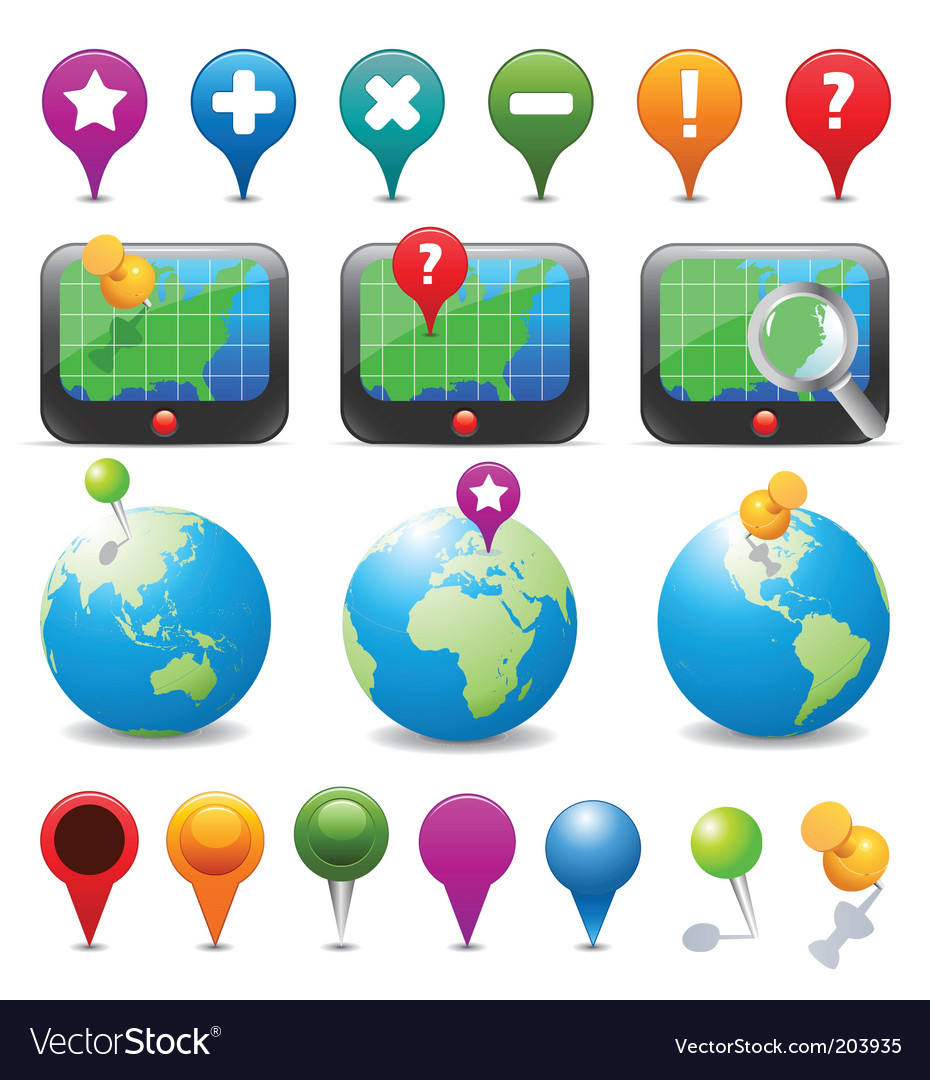 Gps navigation icons vector | Price: 1 Credit (USD $1)