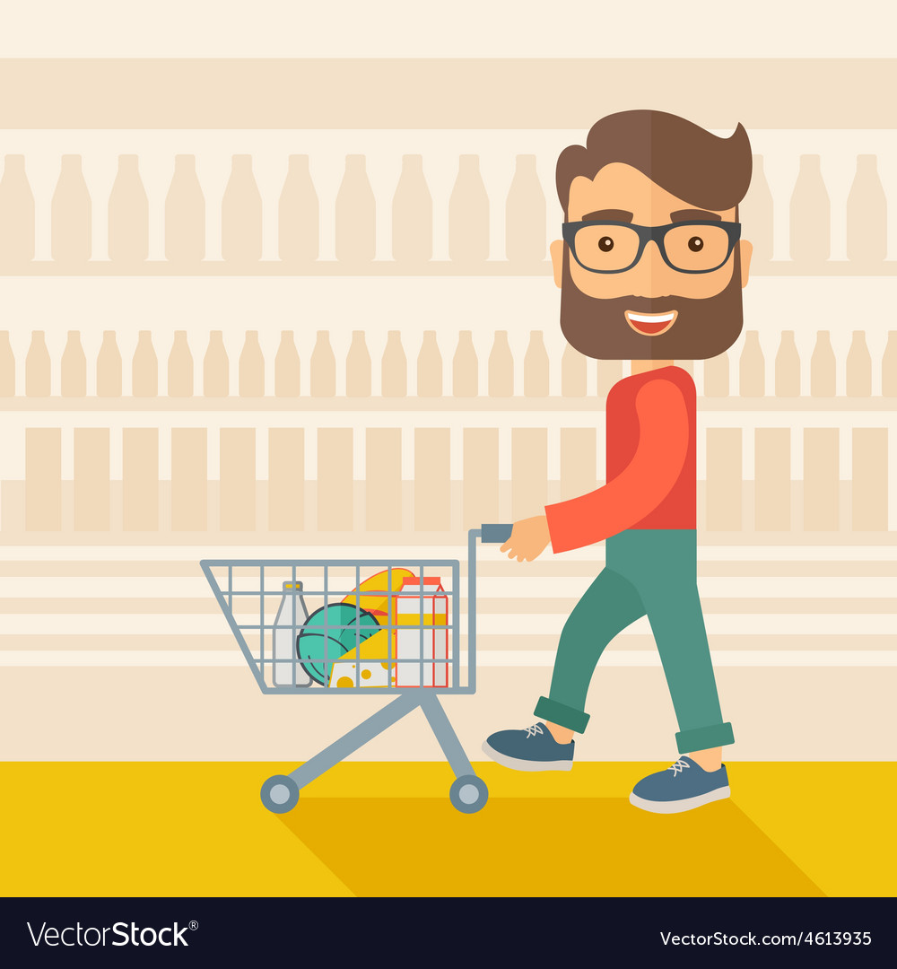Male shopper pushing a shopping cart vector | Price: 1 Credit (USD $1)