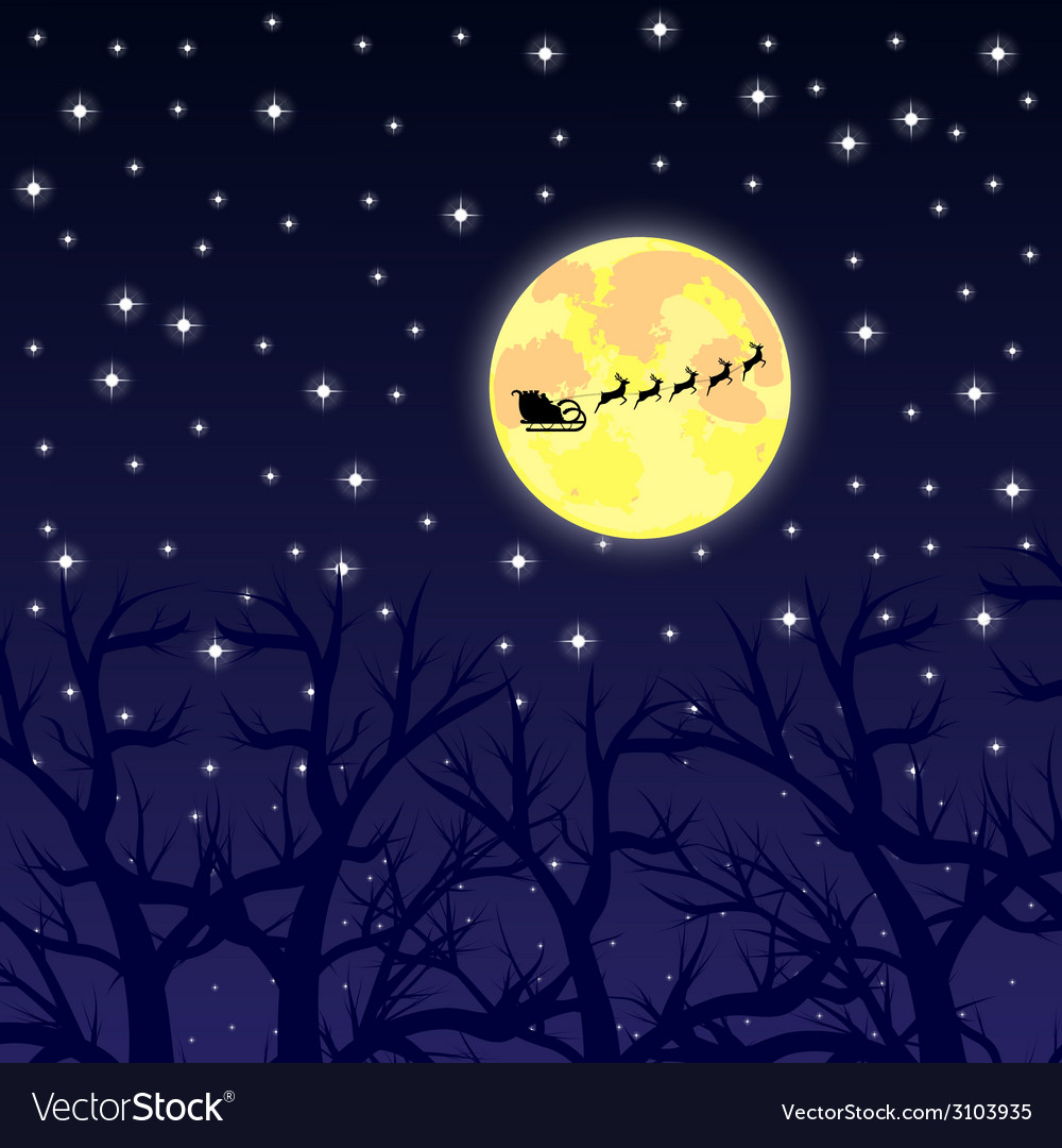 Santa claus riding on a reindeer night vector | Price: 1 Credit (USD $1)