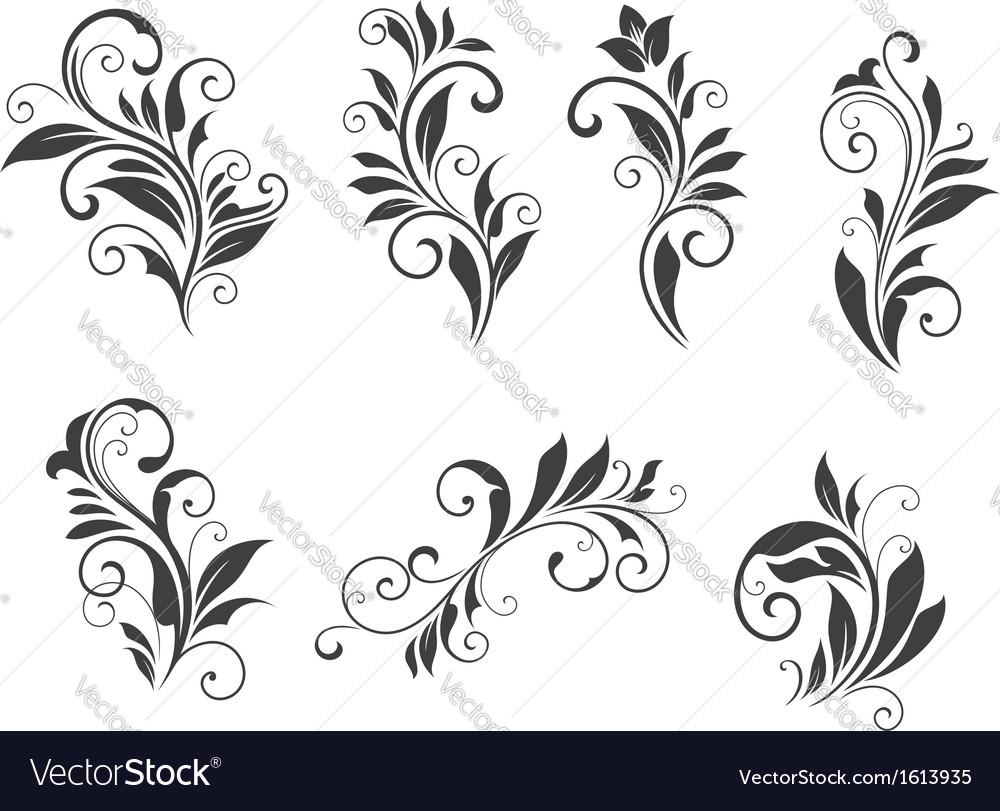 Seven floral elements vector | Price: 1 Credit (USD $1)