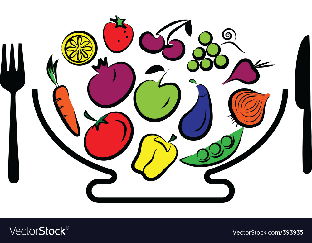 Vegetables and fruits bowl vector | Price: 1 Credit (USD $1)