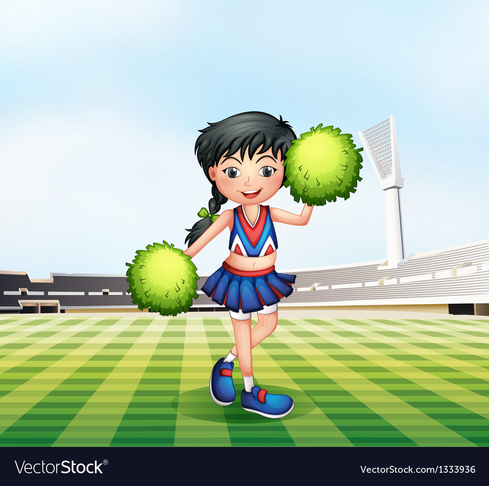 A cheerleader in the soccer field vector | Price: 1 Credit (USD $1)