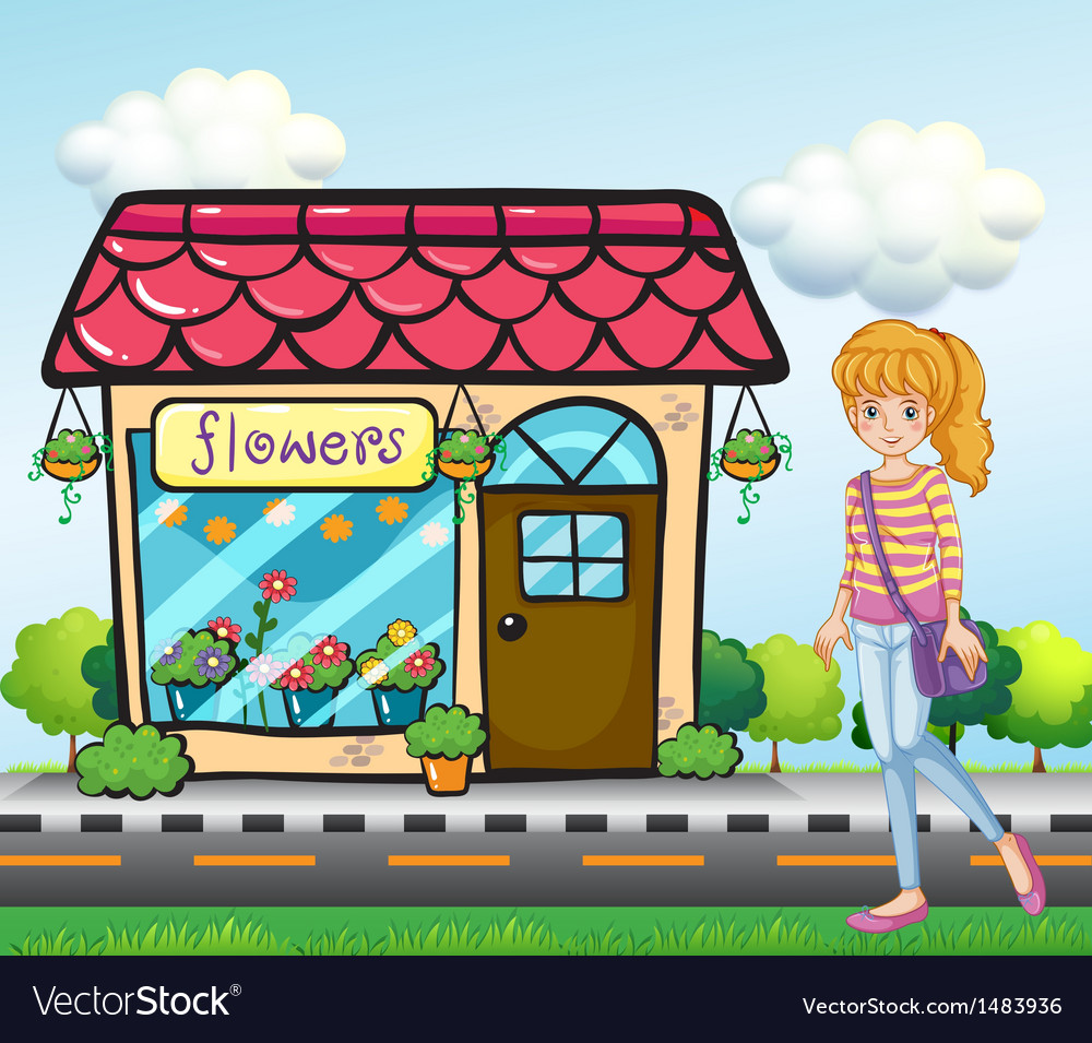 A girl with a bag outside the flower shop vector | Price: 1 Credit (USD $1)