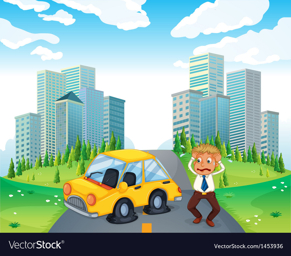 A worried owner of a car with flat tires vector | Price: 1 Credit (USD $1)
