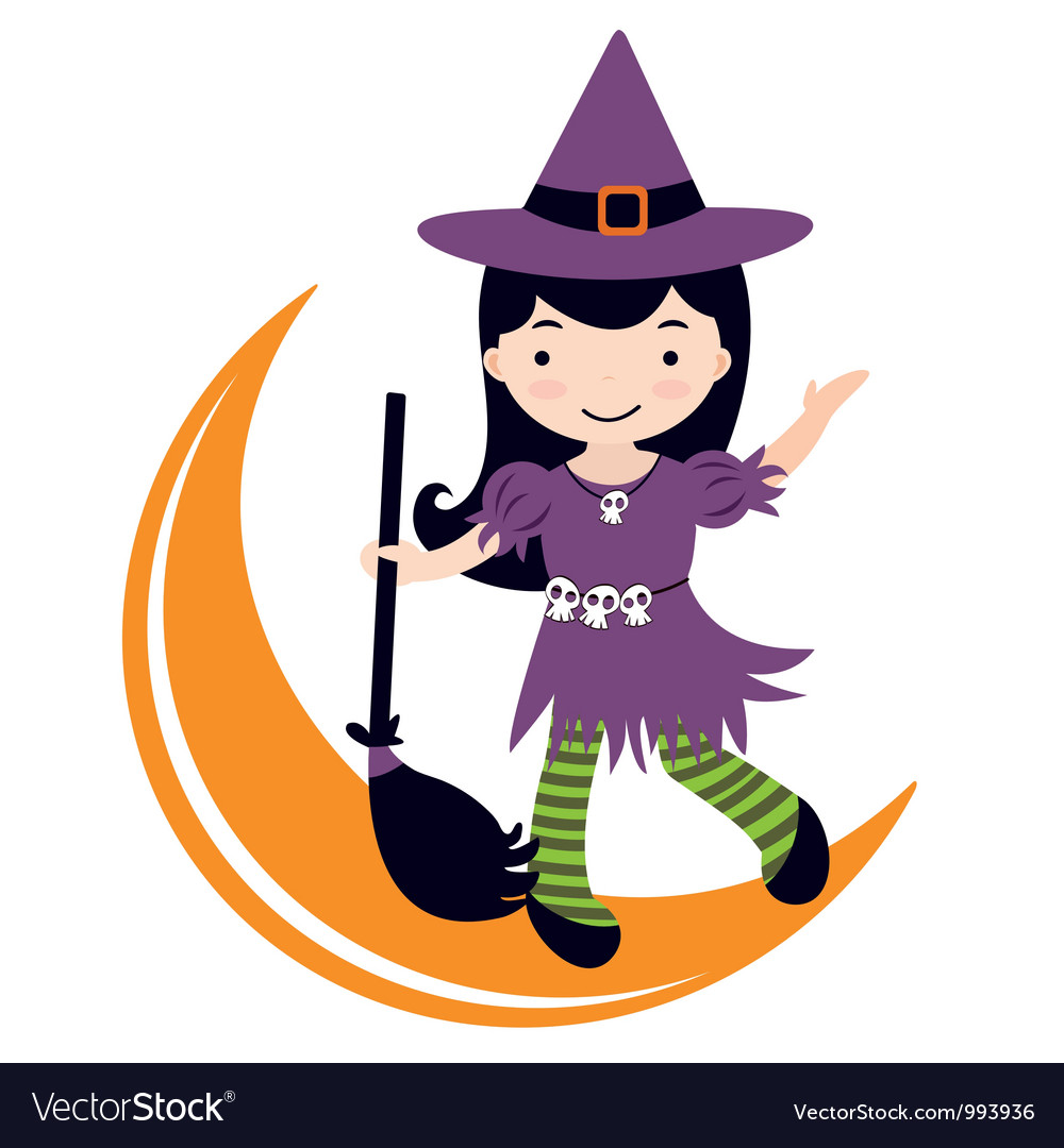 Cute witch dancing on moon vector | Price: 3 Credit (USD $3)