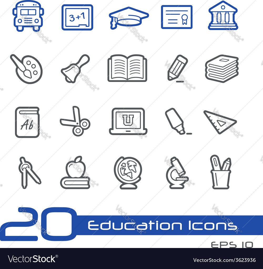 Education icons outline series vector | Price: 1 Credit (USD $1)