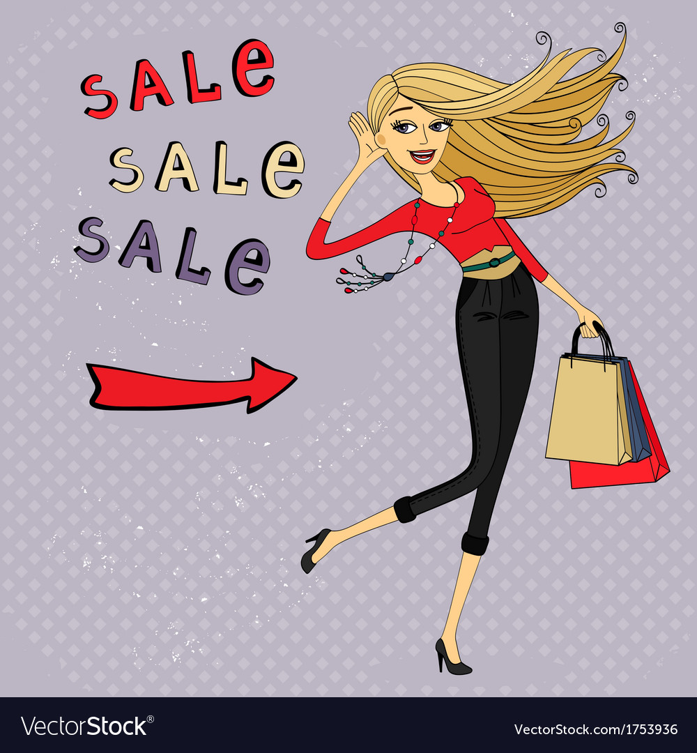 Fashion sale ad shopping girl with bags vector | Price: 1 Credit (USD $1)