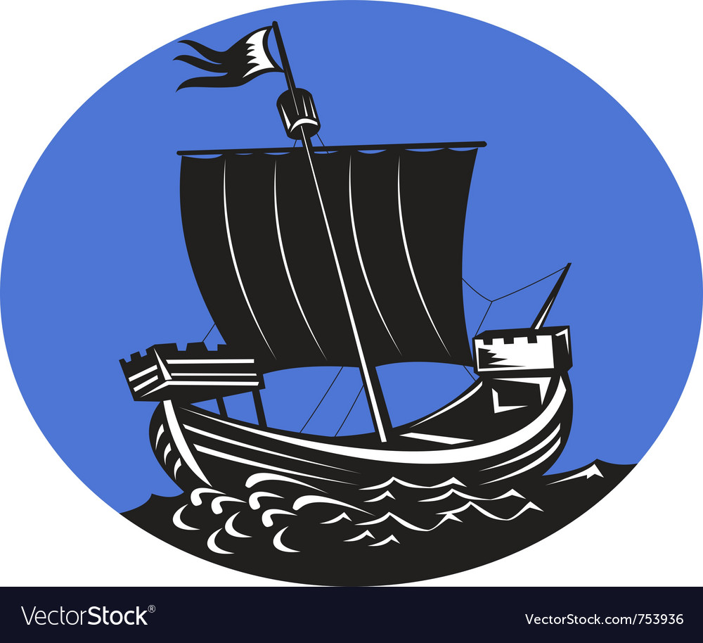 Galleon tall ship sailing the sea vector | Price: 1 Credit (USD $1)