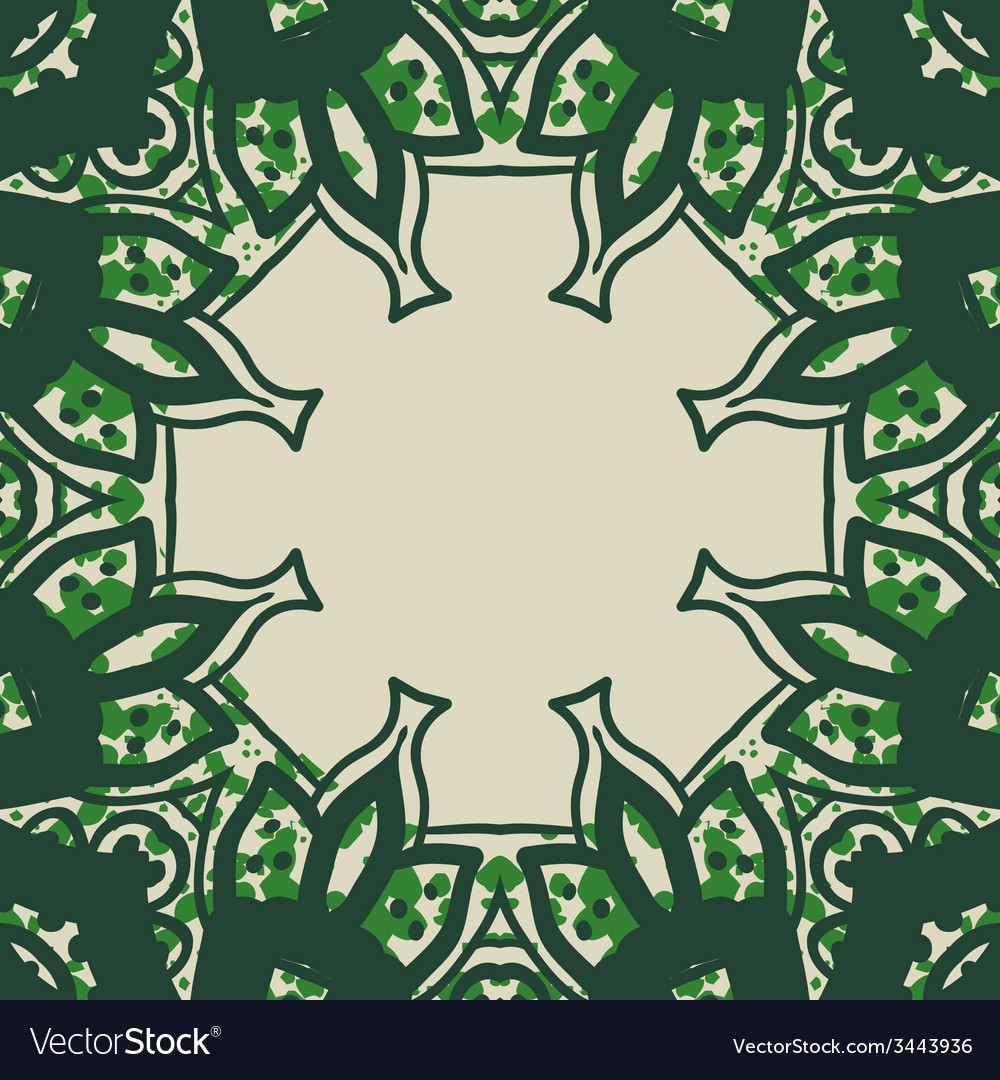 Green stylized ornate frame card in arabic style vector | Price: 1 Credit (USD $1)
