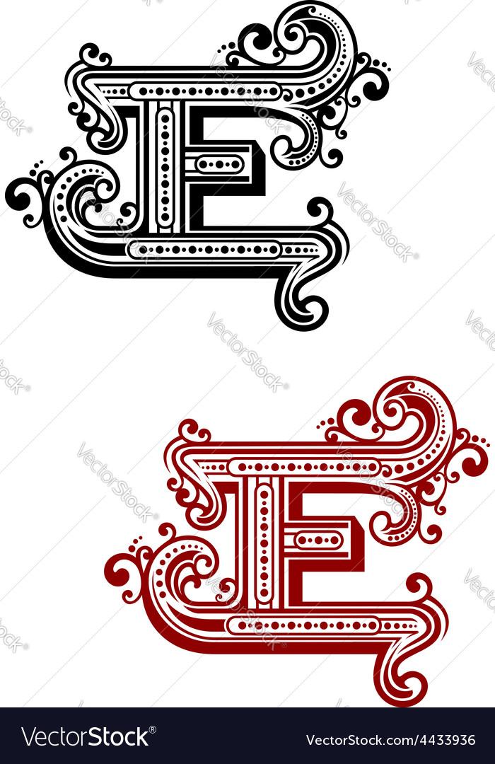 Retro capital alphabet letter e vector | Price: 1 Credit (USD $1)